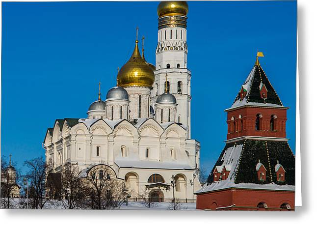 Archangel Greeting Cards - Archangel Cathedral Of Moscow Kremlin - Square Greeting Card by Alexander Senin