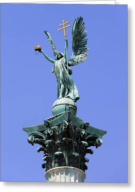 Archangel Greeting Cards - Archangel Gabriel Statue in Budapest Greeting Card by Artur Bogacki