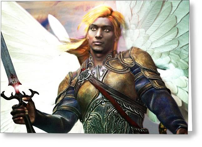 African Angel Greeting Cards - Archangel Gabriel Greeting Card by Suzanne Silvir