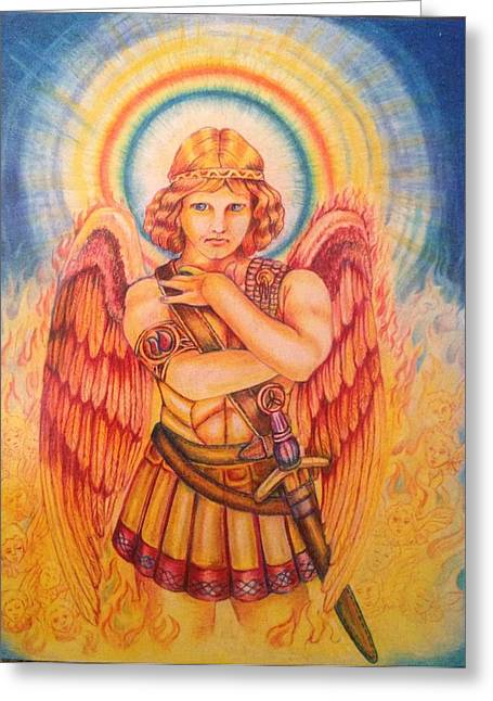 Archangel Drawings Greeting Cards - Archangel Greeting Card by Julia Gatti