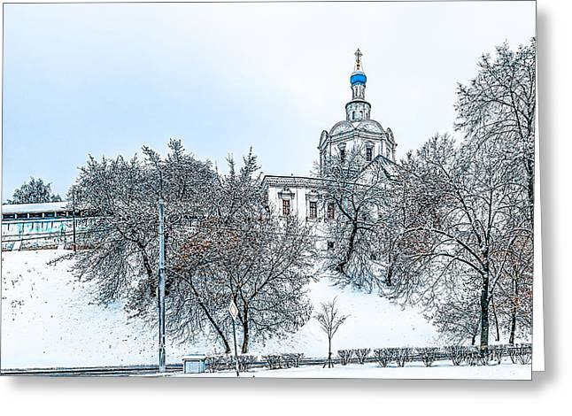 Russian Cross Greeting Cards - Archangel Michael Church Greeting Card by Alexander Senin