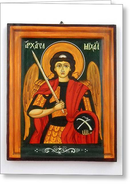 Handpainted Icon Greeting Cards - Archangel Michael hand-painted wooden holy icon orthodox iconography icons ikons Greeting Card by Denise Clemenco