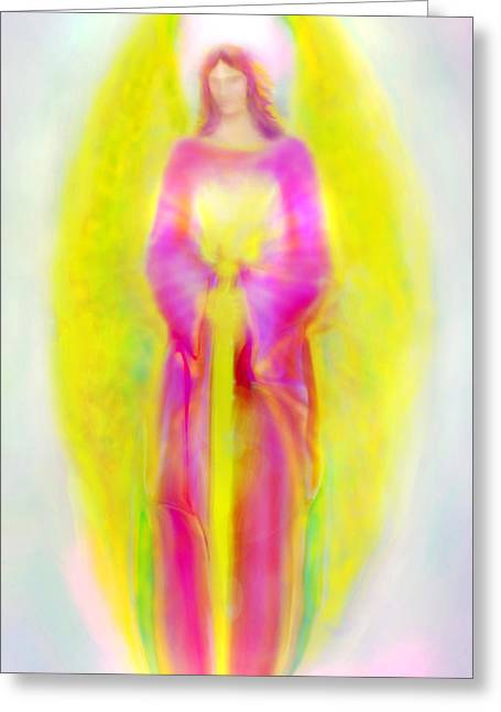 Archangel Michael In Quiet Contemplation  Greeting Card by Glenyss Bourne