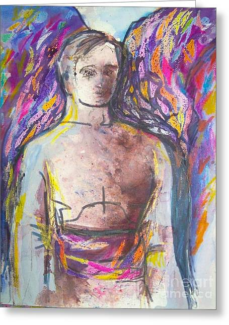 Courage Paintings Greeting Cards - Archangel Michael Greeting Card by Jan Statman