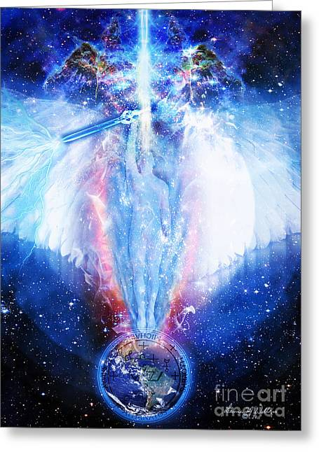 Archangel Greeting Cards - Archangel Michael Greeting Card by Leanne M Williams