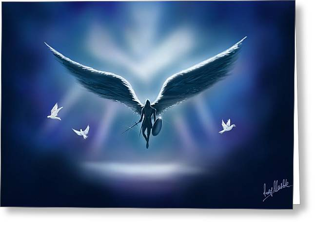 Recently Sold -  - Angel Blues Greeting Cards - Archangel Michael  Greeting Card by Rory Clarke
