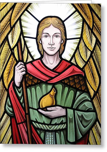 Raphael Glass Greeting Cards - Archangel Raphael detail Greeting Card by Gilroy Stained Glass