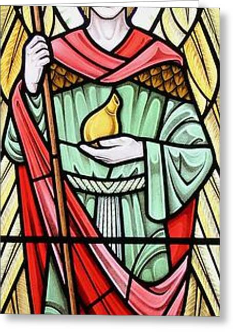 Raphael Glass Greeting Cards - Archangel Raphael Greeting Card by Gilroy Stained Glass