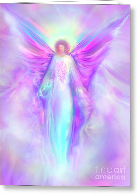 Religious Art Paintings Greeting Cards - Archangel Raphael Greeting Card by Glenyss Bourne