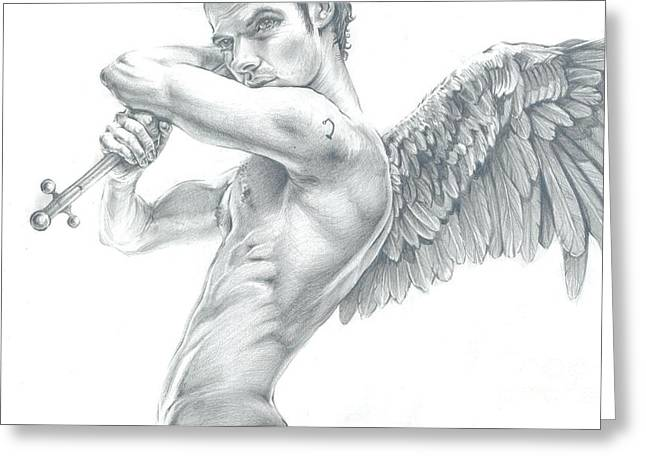 Archangel Drawings Greeting Cards - Archangel Raphael Greeting Card by Karina Griffiths
