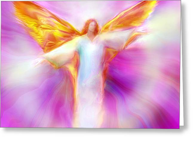 Angel Art Greeting Cards - Archangel Sandalphon in Flight Greeting Card by Glenyss Bourne