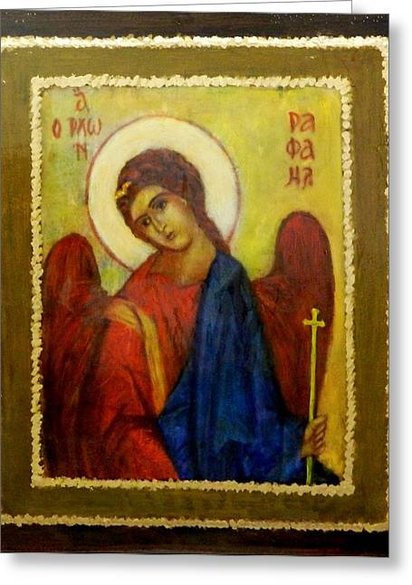 St. Raphael Greeting Cards - Archangel St. Raphael Greeting Card by Irmina SANTAIKA
