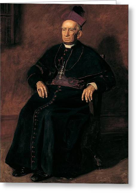 Full-length Portrait Photographs Greeting Cards - Archbishop William Henry Elder, 1903 Oil On Canvas Greeting Card by Thomas Cowperthwait Eakins