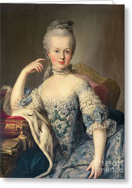 Portraits Greeting Cards - Archduchess Marie Antoinette Habsburg-Lotharingen Greeting Card by Martin II Mytens