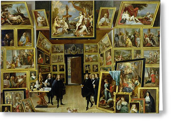 Self-portrait Photographs Greeting Cards - Archduke Leopold Wilhelm 1614-61 In His Picture Gallery, C.1647 Oil On Copper Greeting Card by David the Younger Teniers
