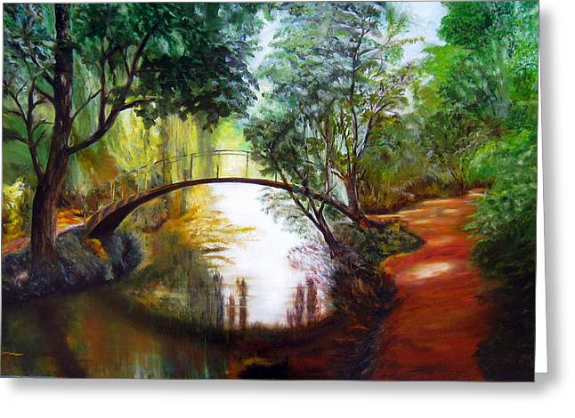 Lavonne Hand Greeting Cards - Arched Bridge over Brilliant Waters Greeting Card by LaVonne Hand