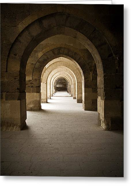 Light And Dark Greeting Cards - Arched colonade Greeting Card by Maria Heyens