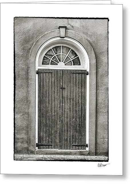 French Quarter Doors Greeting Cards - Arched Door in French Quarter in Black and White Greeting Card by Brenda Bryant