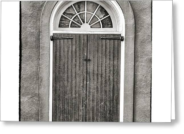 Arched Door in French Quarter in Black and White Greeting Card by Brenda Bryant