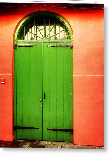Sidewalks. Arches Greeting Cards - Arched Door in New Orleans Greeting Card by Chrystal Mimbs