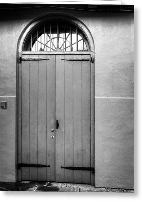 Sidewalks. Arches Greeting Cards - Arched Door in New Orleans in Black and White Greeting Card by Chrystal Mimbs