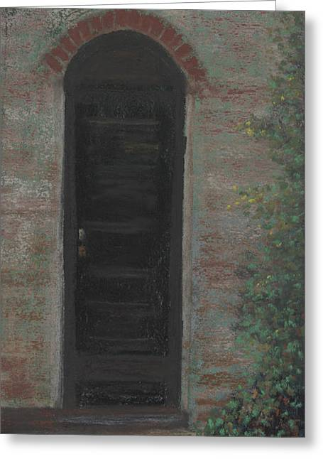 Old Door Pastels Greeting Cards - Arched Doorway Greeting Card by Ginny Neece