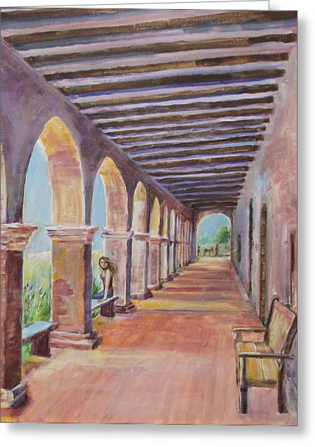 Cement Court Greeting Cards - Arched Walkway at Mission San Juan Capistrano Greeting Card by Jan Mecklenburg
