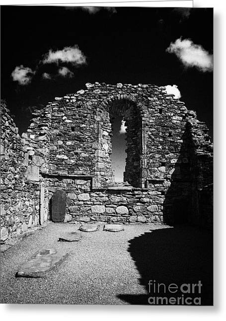 Significance Greeting Cards - Arched Window In Ruins Ruined Remains And Gravestones Inside The Cathedral At Glendalough Monastic Site Greeting Card by Joe Fox