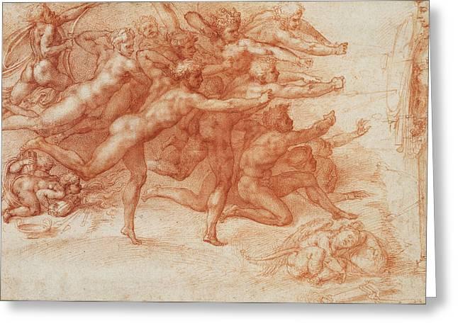 Buonarroti Drawings Greeting Cards - Archers shooting at a herm Greeting Card by Michelangelo di Lodovico Buonarroti Simoni