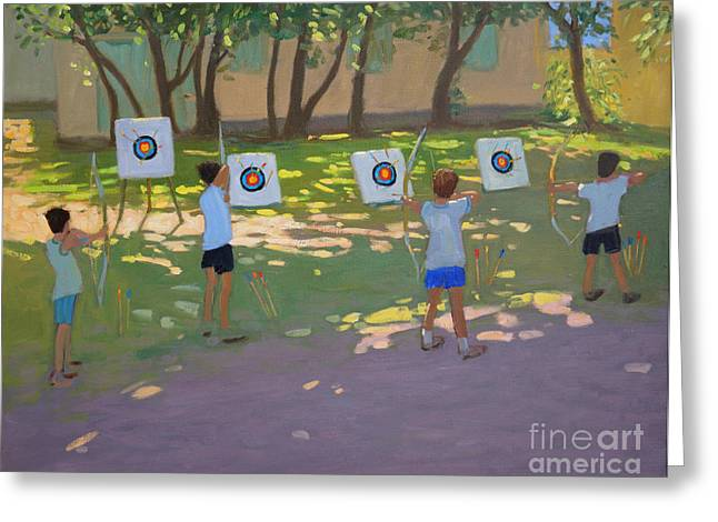 Aiming Greeting Cards - Archery practice  France Greeting Card by Andrew Macara