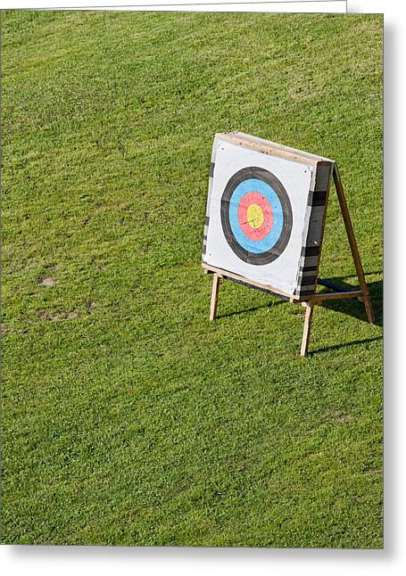 Archery Greeting Cards - Archery Round Target on a Stand Greeting Card by Artur Bogacki