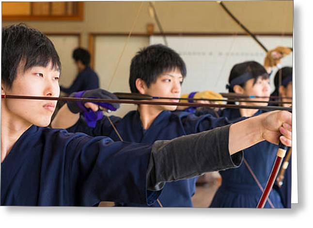 Aiming Greeting Cards - Archery Students Practicing At Japanese Greeting Card by Panoramic Images