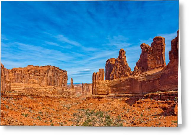 Scenic Drive Greeting Cards - Arches A Western Scene Greeting Card by John Bailey