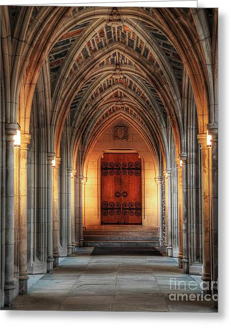 Duke Photographs Greeting Cards - Arches at Duke Chapel Greeting Card by Emily Enz