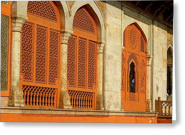 Ram Singh Greeting Cards - Arches Lattice Work Decorative Architecture Albert Hall Greeting Card by Sue Jacobi Photography