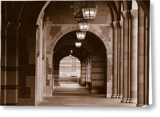University Of California Greeting Cards - Arches Of Royce Hall, University Greeting Card by Panoramic Images