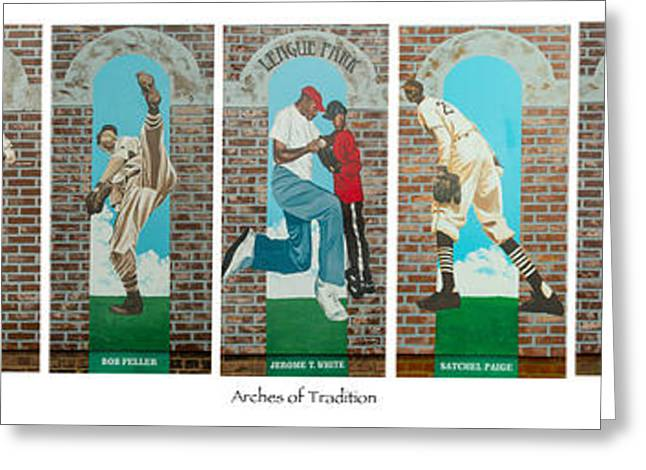 Baseball Murals Paintings Greeting Cards - Arches of Tradition Greeting Card by Jerome White