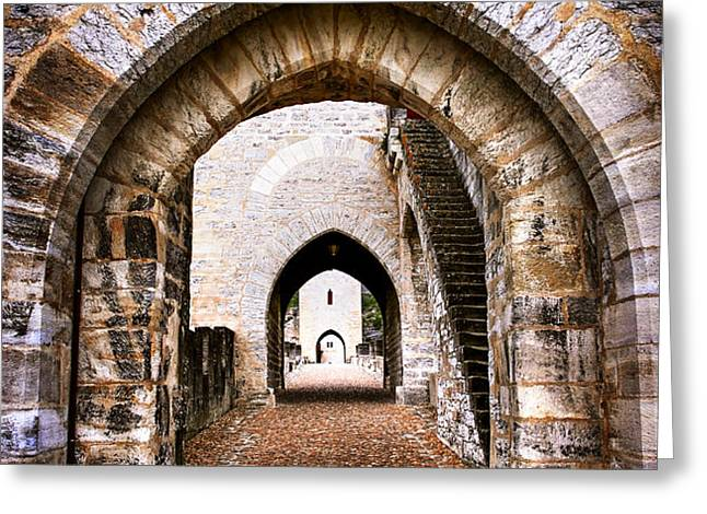 Arches of Valentre bridge in Cahors France Greeting Card by Elena Elisseeva