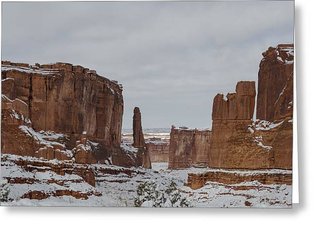 Storm Greeting Cards - Arches Park Avenue Greeting Card by Mike Herdering