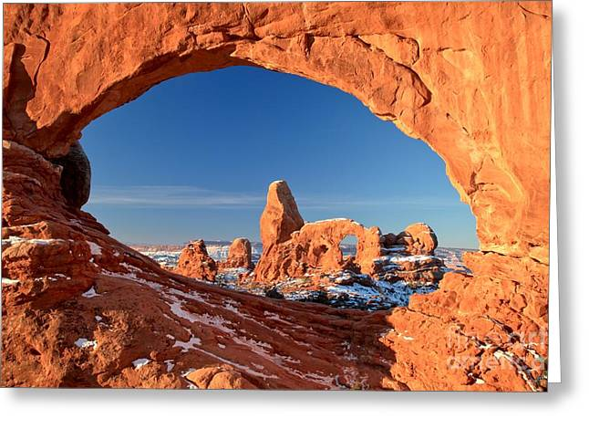 Southern Utah Greeting Cards - Arches Sandstone Frame Greeting Card by Adam Jewell