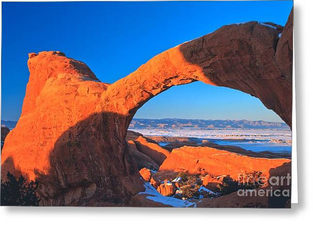 Double O Arch Greeting Cards - Arches Sunset Orange Greeting Card by Adam Jewell