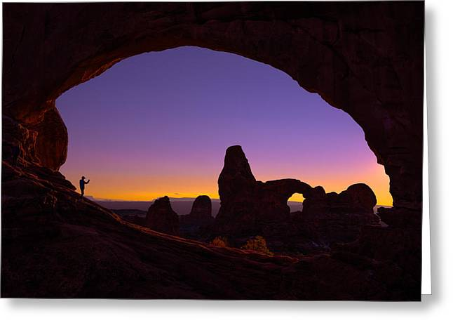 Sunset Framed Prints Greeting Cards - Arches Witness Greeting Card by Darren  White