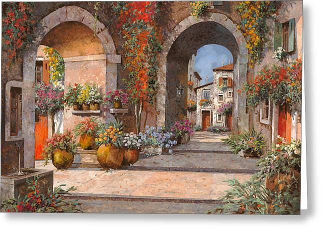 Middle Ages Greeting Cards - Archi E Sotoportego Greeting Card by Guido Borelli