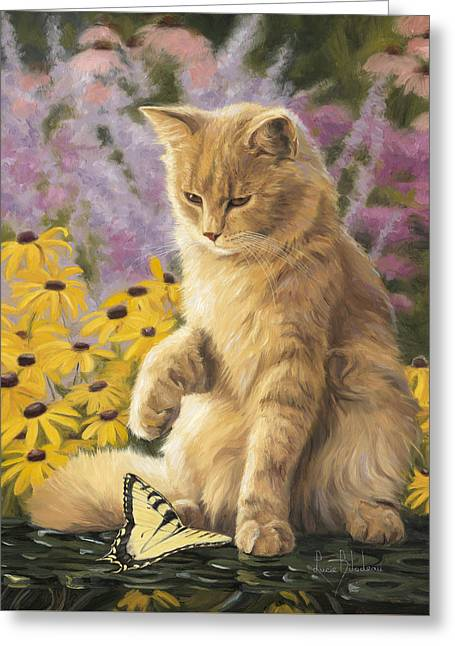 Domestic Cat Greeting Cards - Archibald And Friend Greeting Card by Lucie Bilodeau