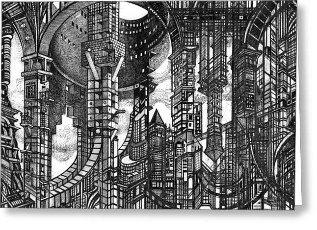 By Myself Greeting Cards - Archictectural Utopia 2 fragment Greeting Card by Serge Yudin