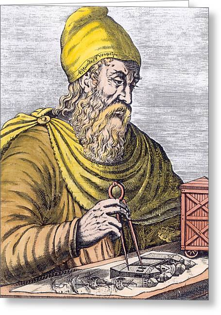 Beard Photographs Greeting Cards - Archimedes 287-212 Bc Engraving Later Colouration Greeting Card by French School