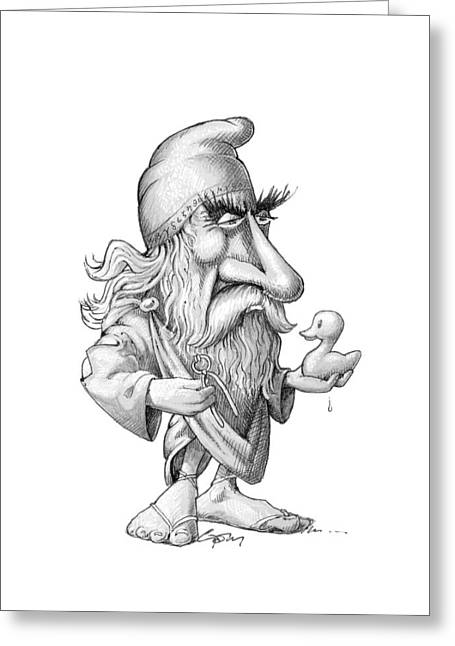 Calculus Greeting Cards - Archimedes, caricature Greeting Card by Science Photo Library