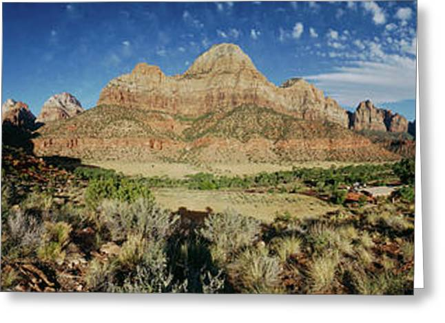 Arching Clouds Over Zion National Park Greeting Card by Panoramic Images
