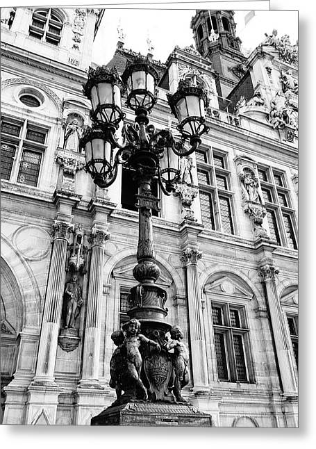 Night Lamp Greeting Cards - Architectural Artwork And Statues On And Around The Hotel De Ville In Paris France Greeting Card by Richard Rosenshein