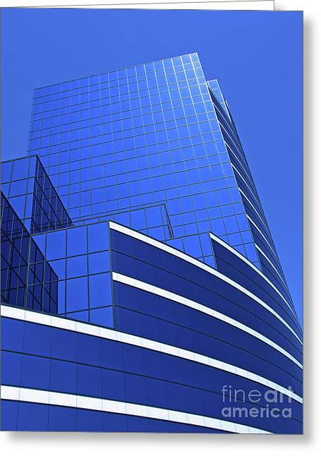 High Rise Greeting Cards - Architectural Blues Greeting Card by Ann Horn